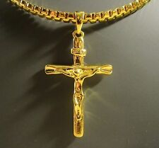 "Men's Large Dimensional Crucifix/Cross Pendant & Chain 24"" Gold Filled 35 Grams"