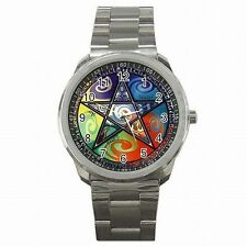 Wicca Pentagram Emblem Witches Spell Wiccan Stainless Steel Sport Watch New!