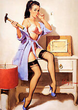 Metal Sign A4 vintage style sexy Pin Up Gil Elvgren decorative wall door plaque