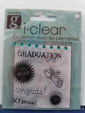 NEW STUDIO G CLEAR STAMP AND GEMS GRADUATION TIME DIPLOMA SO PROUD  VC0039 183
