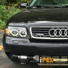 NEW For 2000-2001 Audi A4 B5 Dual Halo Projector LED Headlights Headlamps Black