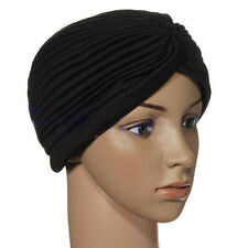 Stretchy Girl Turban Head Wrap Band Chemo Bandana Hijab Pleated Indian Hat Black