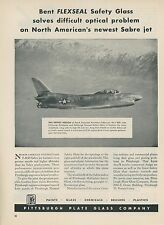 1952 Pittsburgh Plate Glass Ad North American Aviation F-86D Sabre Jet Fighter