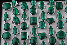 10pcs Womens mans Fashion Malachite Gemstone Tibet Silver Rings Lots