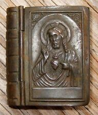1880 Antique MINIATURE Book METAL Gospels BIBLE Sacred Heart JESUS Christian GOD