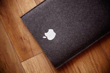 "New MacBook 12"" Retina Sleeve Case - SIMPLE BLACK UP WITH SILVER APPLE"