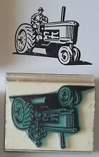 Man Driving Old Fashioned Tractor rubber stamp by Amazing Arts farm country