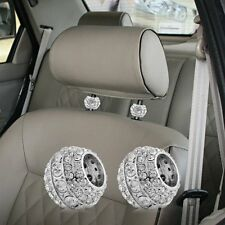 2pcs Chrome Bling Crystal Car Truck SUV Head Rest Collar #B Interior Decoration
