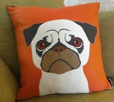 Pug dog cushion orange