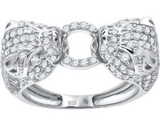 Ladies Women Solid Real 925 Sterling Silver Cubic CZ Panther Party Cocktail Ring