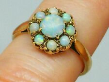 9k Gold 9ct gold Vintage Art Deco Fiery Opal Cluster Ring size K