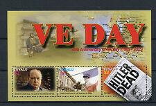 Tuvalu 2005 MNH VE Day 60th 3v MS Churchill De Gaulle Hitler World War II Stamps