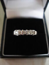 18 CARAT WHITE GOLD 5 STONE BRILLIANT CUT DIAMOND ETERNITY WEDDING RING BNIB