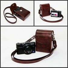 Coffee leather case bag for Panasonic Lumix DMC- ZS100 TZ100 ZS60 TZ60 camera