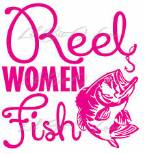 Reel Women Fish Vinyl Decal Sticker with bass for vehicle Fishing Fish Girls
