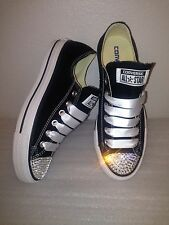 Swarovski Elements On Black Low Top Chuck Taylor All Star Converse Women's 7