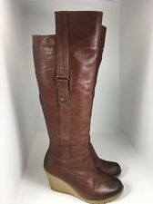 Aldo Brown Leather Tall Wedge Boots Women's Sz 37/6.5