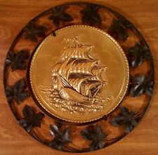 Vintage Pair of Nautical Antique Naval Ship Metal Wall Plaques