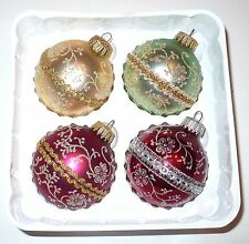 4 VINTAGE CHRISTMAS GLITTER LACE DESIGN TREE ORNAMENTS KREBS MEXICO BOX