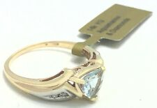 GENUINE 1.45 Cts AQUAMARINE & DIAMONDS 14k GOLD RING *FREE shipping & appraisal