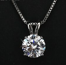 "2 Ct Platinum Plated Silver Round Solitaire Cubic Zirconia Pendant Necklace 16""+"
