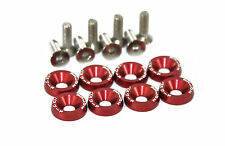 Anodised Aluminium Countersunk Wing Washers With Screws PW JDM Modified Red