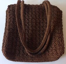 Carrie Forbes Brown Crochet Woven Shoulder Handbag Purse Tote No Lining