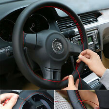 HOT DIY Genuine Leather 15''/38cm Steering Wheel Cover w/Needles Thread BK/RED