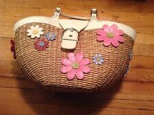 NWOT 100% Authentic Limited Edition Coach Straw Flower Basket Bag - RARE
