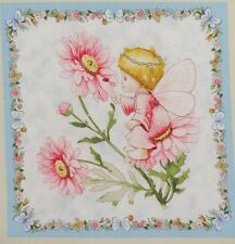 "E Fairy Baby Pink Flower Silver Large 10.25"" quilt block Square Quilting Fabric"