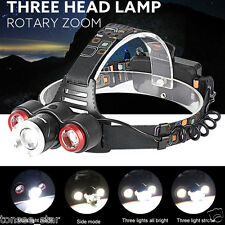 Wasserdicht 8500Lm XML T6+2R5 3 LED Rechargeable 18650 Akku Headlamp Light Torch