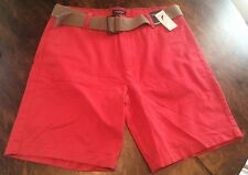 NWT Men's Sailor Red NAUTICA Belted Shorts Size 36W $59.50