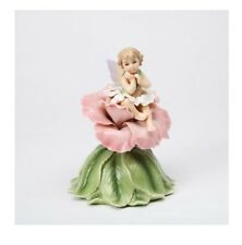 "NEW FINE PORCELAIN FAIRY WITH PINK ROSE ""THE ROSE"" MUSIC BOX,MUSICAL FIGURINE"