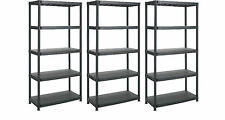 NEW 3 X 5 TIER BLACK PLASTIC RACKING SHELVING SHELVES RACK STORAGE SHELF UNIT