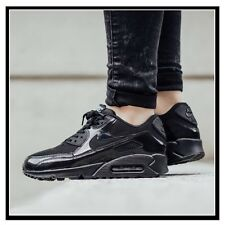NIKE AIR MAX 90 PREMIUM BLACK PATENT LEATHER WOMEN RUNNING SHOES 443817 002 8.5