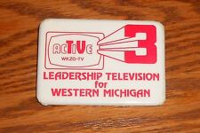 WKZO-TV Active 3 Radio Western Michigan Button Pin Original Promo 3x2""