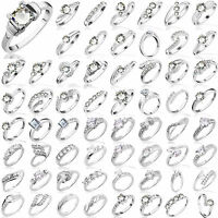 Retro Womens 925 Sterling Silver Jewelry Filled Banquet Wedding Engagement Rings