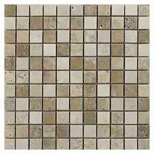 Sample of Light & Walnut Mixed Travertine Mosaic Tiles 23 x 23 mm