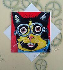 Minions Gatito Gato Arte Tarjeta de mi original pintura de acrílico Vapor Punk Gafas