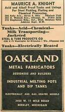 1946 Maurice A Knight Tanks Oakland Pots 11 Mile Rd Berkley Michigan Ad