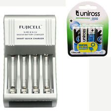 Fujicell Smart Fast AA/AAA Battery Charger + 4 AA 800mAh Rechargeable Batteries