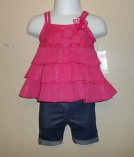 Youngland Baby Infant Girls Tiered Top + Capri Jeggings Pink & Denim 6M NWT