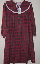 NWT Lanz of Salzberg -XL- Red Plaid Cotton Flannel Warm Nightgown Long Length