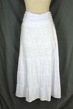 NEW DIRECTIONS Maxi Skirt LARGE White Slub Knit Long Tiered Fold Over Waist