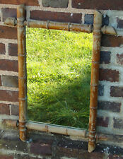 Ancienne Glace Miroir , Bambou , Déco , Loft , Bois, Vintage Art-Déco B-H-V
