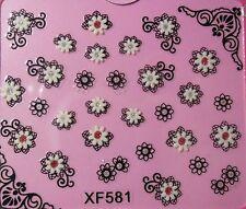 Accessoire ongles : nail art- Stickers autocollants : fleurs résilles blanc noir