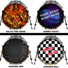"Custom 18"" Bass Drum Head Decals Skin Wrap Kick Sticker Vinyl Double FREE DESIGN"