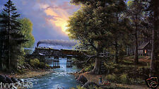 Home Decor oil painting HD Print on Canvas Art Deco Jesse Barnes Train forest 24