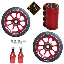 PRO STUNT SCOOTER SET 2 110mm RED SOLID WHEELS ABEC 11 BEARING PEGS SCS CLAMP