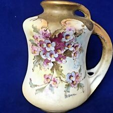 Antique Teplitz Art Nouveau Vase, Marked Turn Rstk, Hand painted, Gilt, Handle
